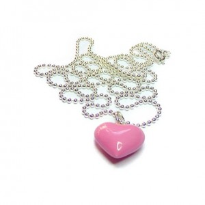 Sterling Silver Ball Chain with Large Pink Puffed Heart