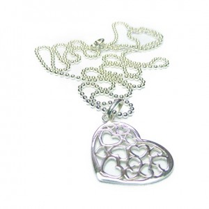 Sterling Silver Ball Chain with Multi Heart
