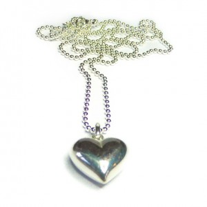 Sterling Silver Ball Chain with Puffed Heart