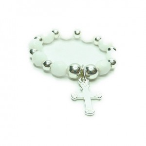 White Faceted Czech and Sterling Silver Ball Stacking Ring with Cross