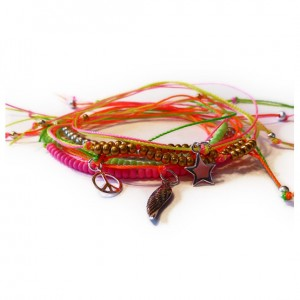 Festival Neon Czech Stacking Friendship Bracelet Stack with Duo Neons