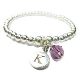 Sterling Silver Custom Initial & Birthstone Bracelet