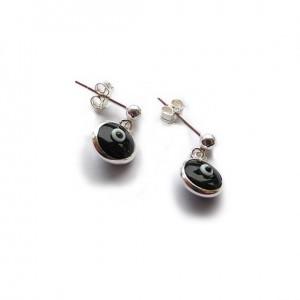 Sterling Silver Stud Earrings with Black Evil Eye Charms