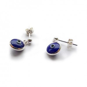 Sterling Silver Stud Earrings with Blue Evil Eye Charms