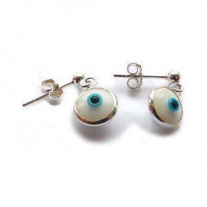 Sterling Silver Stud Earrings with White Evil Eye Charms