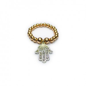 Gold Filled Ball Ring with Sterling Silver Hamsa Charm