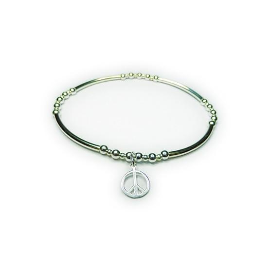 Sterling Silver Skinny Noodle Bracelet with Peace