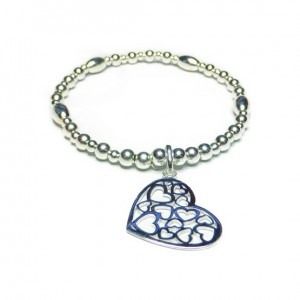 Sterling Silver Ball & Rice Bracelet with Multi Heart Charm