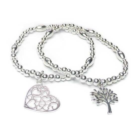 Sterling Silver Ball & Rice Bracelet with Tree of Life and Multi Heart Charm