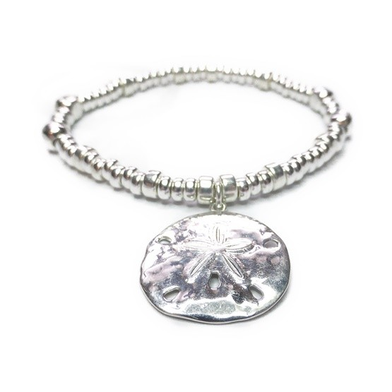 Sterling Silver Maxi Cube Bracelet with Sand Dollar Charm