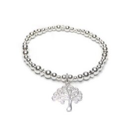 Sterling Silver Mixed Ball & Rombo Bracelet with Tree of Life
