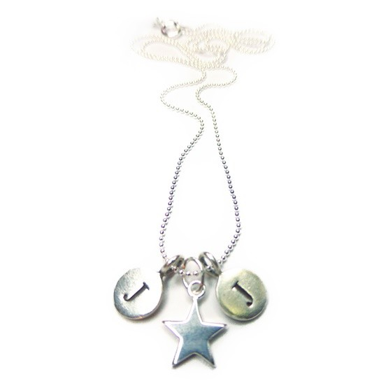 Sterling Silver Necklace with Two Initials and Star Charm