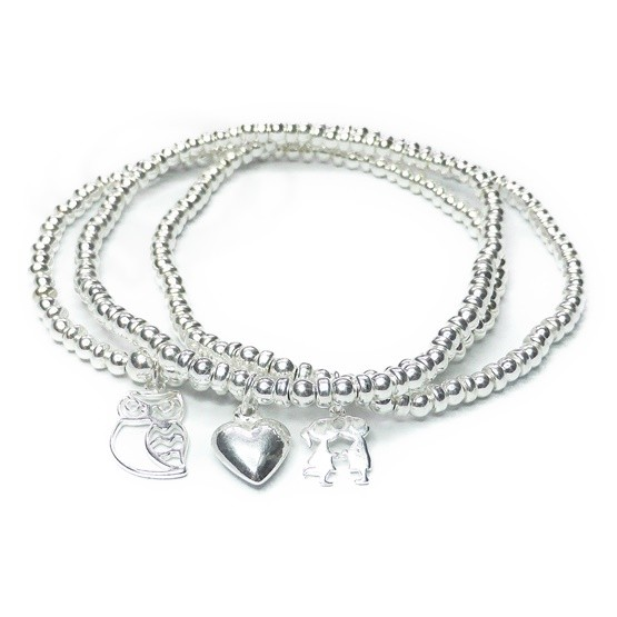 Sterling Silver Skinny Ball & Rondelle Bracelet Stack with Heart, Kissing Couple & Owl