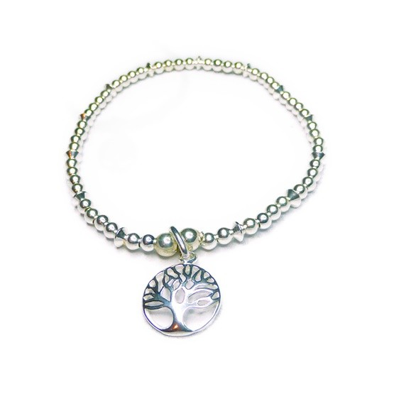 Sterling Silver Small Ball & Rombo Bracelet with Tree of Life Disk Charm