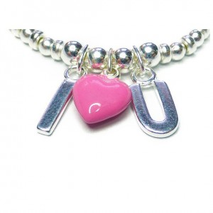 Sterling Silver Sweetheart Bracelet Close-up of Charms with Pink Heart
