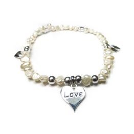 Freshwater Nugget Pearl & Sterling Silver Bracelet with Love Charms
