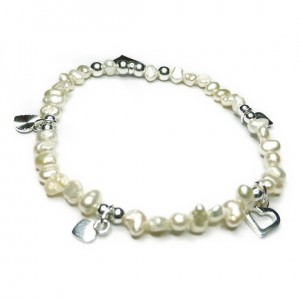 Freshwater Nugget Pearl & Sterling Silver Bridal Bracelet with Love Charms