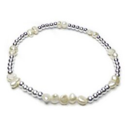 Freshwater Nugget Pearl & Sterling Silver Weddingl Bracelet