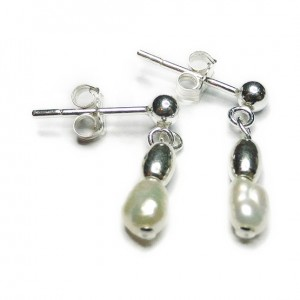 Freshwater Pearl & Sterling Silver Bridal Drop Earrings