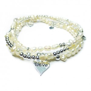 Stack of Freshwater Nugget Pearl & Sterling Silver Bridal Bracelets with Love Charms