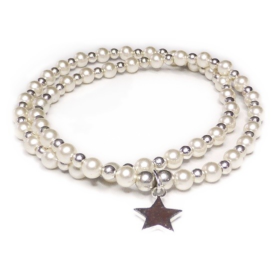 Stack of Swarovski Pearl & Sterling Silver Bridal Bracelets with Star Charm