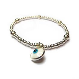 Sterling Silver Ball Bracelet with Turkish Glass Evil Eye Charm