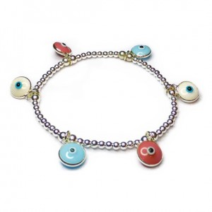 Sterling Silver Mixed Ball Bracelet with Multi Evil Eye Charm