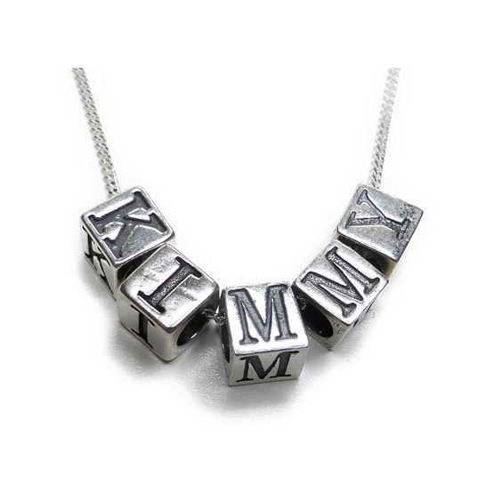 Sterling Silver Unbreakable Kimmy Schmidt Initial Cube Necklaces