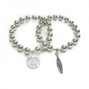 Chunky Ball Bracelets with Peace or Feather