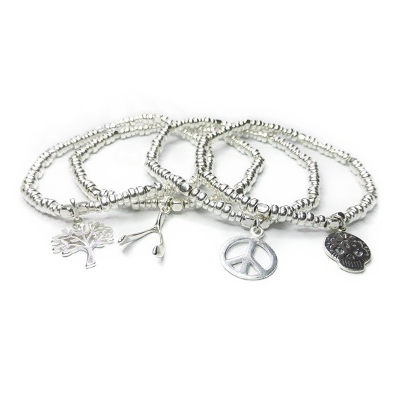 Stack of Sterling Silver Bolt Bracelets with Choice of Charm
