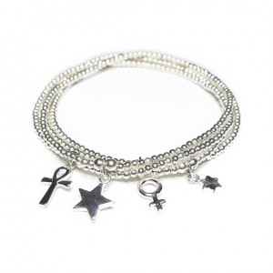 Stack of Sterling Silver Skinny Ball Bracelets with Choice of Charms