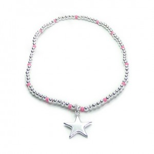 Sterling Silver Ball Anklet with Czech Neon Accents and Puffed Star Charm
