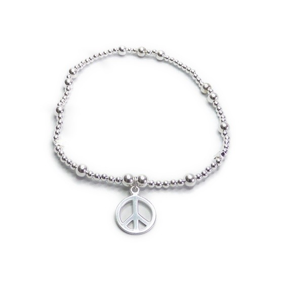 Sterling Silver Ball Anklet with Peace Charm
