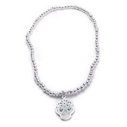 Sterling Silver Ball Bracelet with Fuchsia Skull