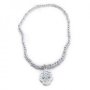 Sterling Silver Ball Bracelet with Fuchsia Skull