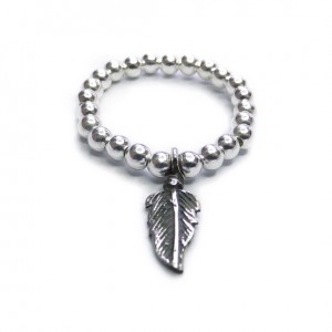 Sterling Silver Ball Ring with Feather