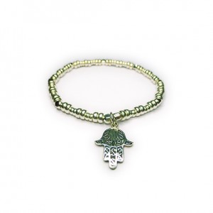 Sterling Silver Bolt Bracelet with Hamsa Charm