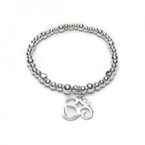 Sterling Silver Bolt Bracelet with Ohm Charm