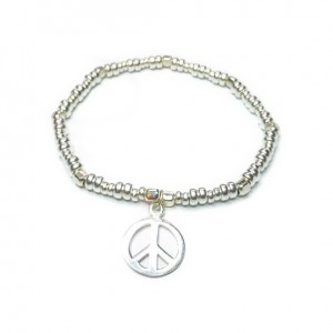 Sterling Silver Bolt Bracelet with Peace Charm