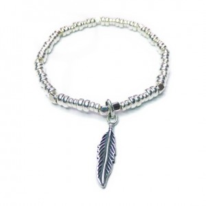 Sterling Silver Bolt Bracelet with Sugar Feather Charm