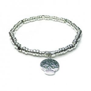 Sterling Silver Bolt Bracelet with Sugar Skull Charm