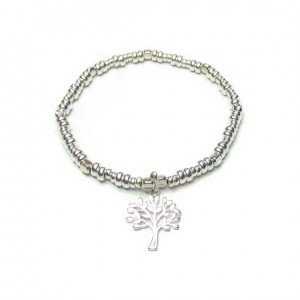Sterling Silver Bolt Bracelet with Tree of Life Charm