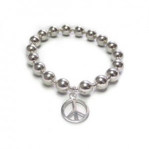 Sterling Silver Chunky Ball Bracelet with Peace Charm
