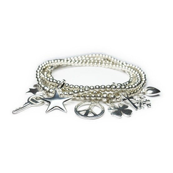 Sterling Silver Mini Ball Bracelet Stack