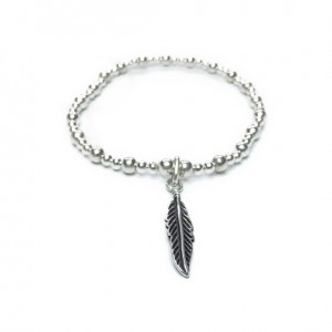 Sterling Silver Mixed Ball Bracelet with Feather Charm