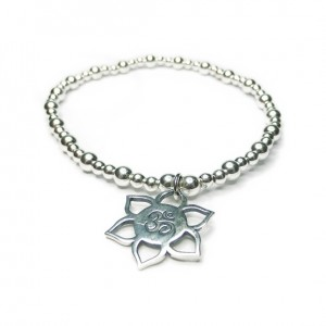 Sterling Silver Mixed Ball Bracelet with Lotus Ohm