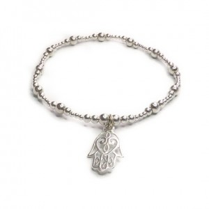 Sterling Silver Mixed Ball Bracelet with Open Hamsa Charm