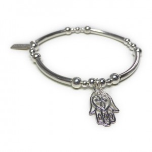 Sterling Silver Mixed Ball and Noodle Bracelet with Open Hamsa Charm
