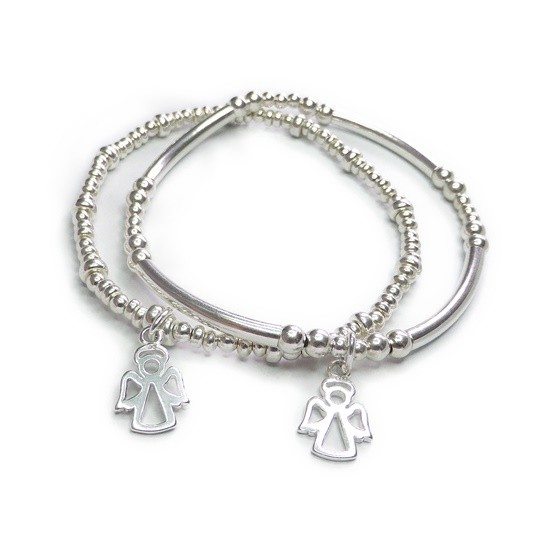 Sterling Silver Noodle Bracelet & Ball and Rondelle Bracelets with Angel Charms
