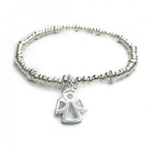 Sterling Silver  Rondelle Bracelet with Angel Charm